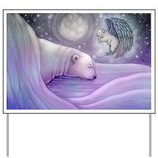 polar bear and angel cp Yard Sign