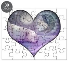 polar bear and angel cp heart Puzzle