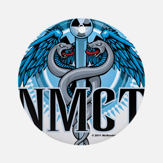 NMCT-Caduceus-Blue Round Ornament