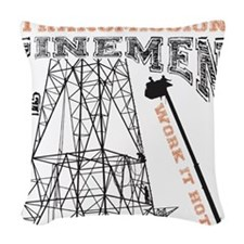 transmission tower Woven Throw Pillow