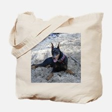 Paint dog in sand Tote Bag