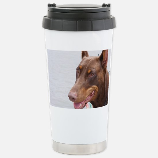 Paint river dog Stainless Steel Travel Mug