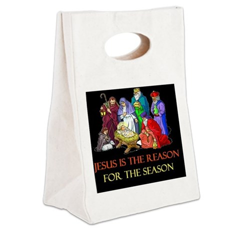Christmas jesus is the reasond Canvas Lunch Tote