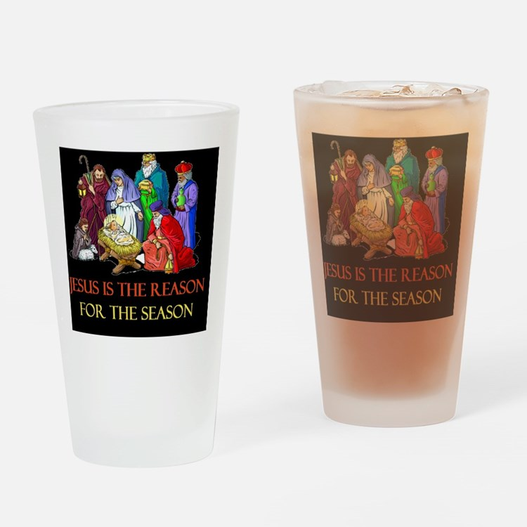 Christmas jesus is the reasond Drinking Glass