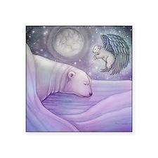"polar bear and angel square Square Sticker 3"" x 3"""
