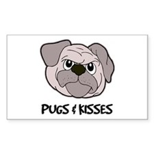 Pugs And Kisses Rectangle Decal
