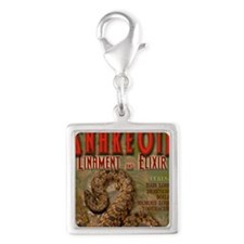 SNAKE-OIL Silver Square Charm