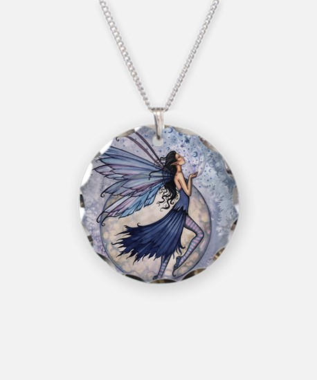 Midnight Blue cp Necklace Circle Charm