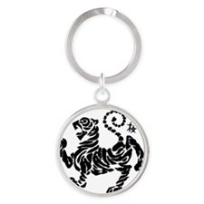 Tiger5InchAlltransparency Round Keychain