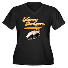 honeybadgers Women's Plus Size Dark V-Neck T-Shirt