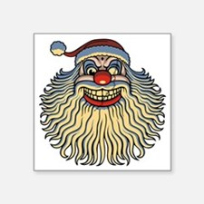 "scary-clown-santa-T Square Sticker 3"" x 3"""
