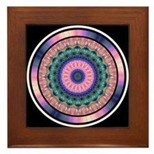 Pink Purple Mandala Kaleidoscope Framed Tile