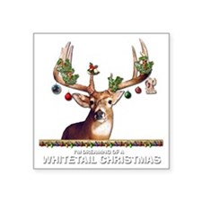 "Whitetail Deer Square Sticker 3"" x 3"""