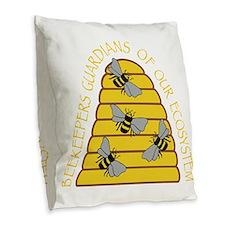 beekeepers dark Burlap Throw Pillow