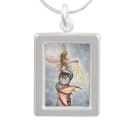 Star Filled Sky cp Silver Portrait Necklace