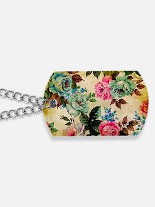 Bag Antique Floral Dog Tags