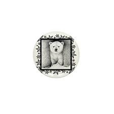 Polar Bear Cub (coaster) Snowflakes Mini Button