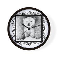 Polar Bear Cub (coaster) Snowflakes Wall Clock