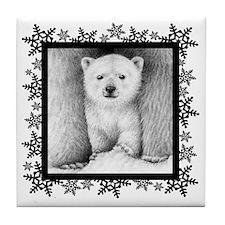 Polar Bear Cub (coaster) Snowflakes Tile Coaster