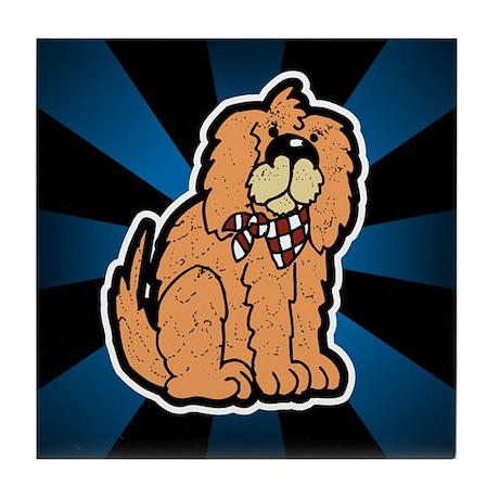 Cartoon Golden Retriever Dog Tile Coaster