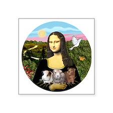 """Mona Lisas Three Guinea Pig Square Sticker 3"""" x 3"""""""