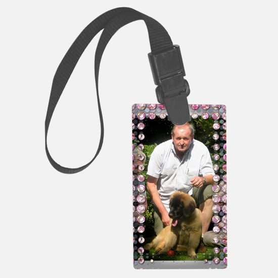 Personalizable Pink Bling Frame Large Luggage Tag