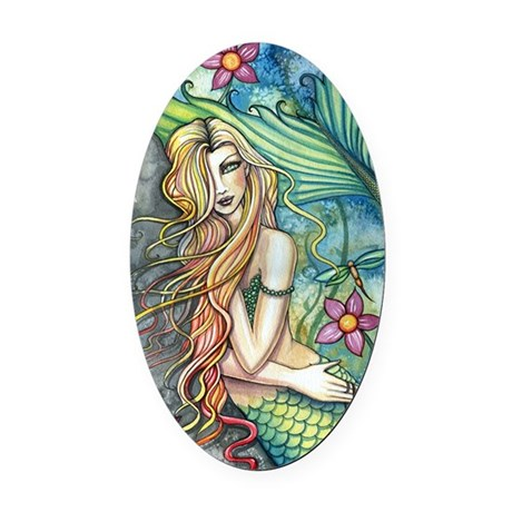 Fresh Water Mermaid cp Oval Car Magnet