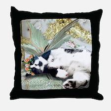 Tuxedo Cat Fairy Tile Throw Pillow