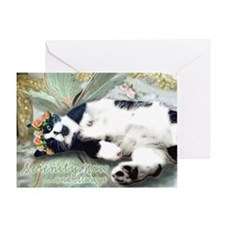 Tuxedo Cat Fairy Tile Greeting Card