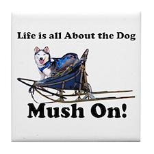 Siberian Husky Mush On! Tile Coaster