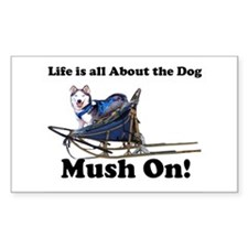 Siberian Husky Mush On! Rectangle Decal