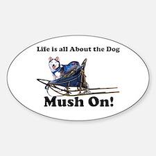 Siberian Husky Mush On! Oval Decal