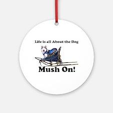Siberian Husky Mush On! Ornament (Round)