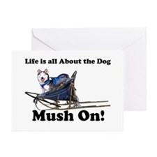 Siberian Husky Mush On! Greeting Cards (Package of