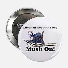 Siberian Husky Mush On! Button