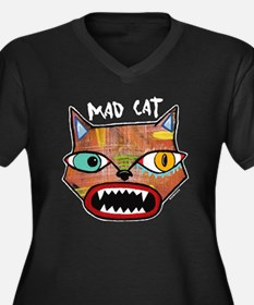 MadCatBlack3 Women's Plus Size Dark V-Neck T-Shirt