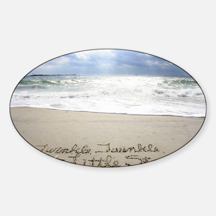 Twinkle Little Star by Beachwrite Sticker (Oval)