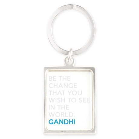 Ghandi Be The Change Quote Portrait Keychain