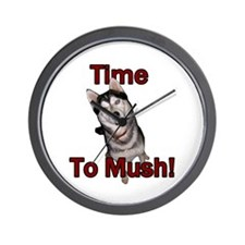 Siberian Husky Sled Dog Time to Mush Wall Clock