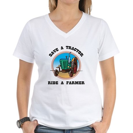 Save a Tractor Women's White V-Neck T-Shirt