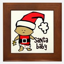 1212 Santa Baby with brown teddy twiba Framed Tile