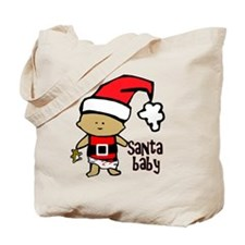 1212 Santa Baby with brown teddy twibaby  Tote Bag