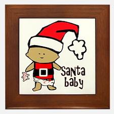 1212 Santa Baby with pink teddy twibab Framed Tile