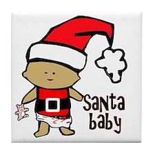 1212 Santa Baby with pink teddy twiba Tile Coaster