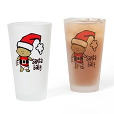 1212 Santa Baby with pink teddy twi Drinking Glass