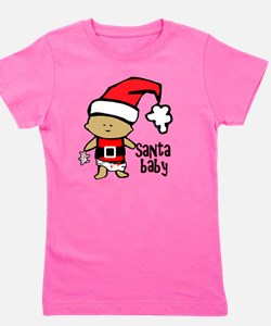 1212 Santa Baby with pink teddy twibaby Girl's Tee