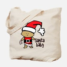 1212 Santa Baby with pink teddy twibaby c Tote Bag