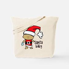 1212 Santa Baby with blue teddy twibaby c Tote Bag