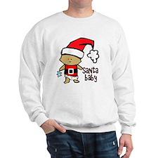 1212 Santa Baby with blue teddy twibaby Sweatshirt