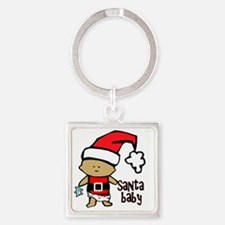 1212 Santa Baby with blue teddy tw Square Keychain